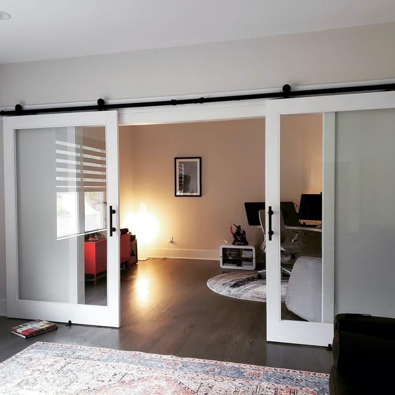 Glass Panel Double Barn Door (Glass Designer Series Sliding Double Barn Doors) by www.doubledw.com