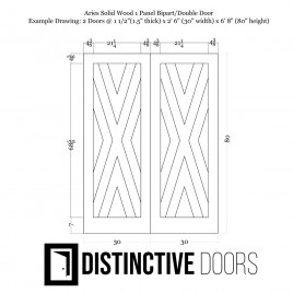 Aries Wood 1 Panel Double Barn Door