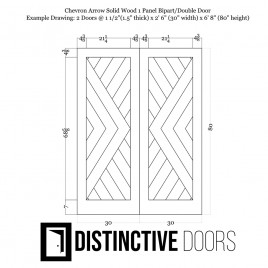 Chevron Arrow Wood 1 Panel Double Barn Door