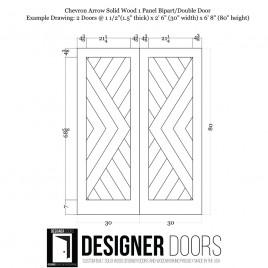 Chevron Arrow Wood 1 Panel Double Barn Door
