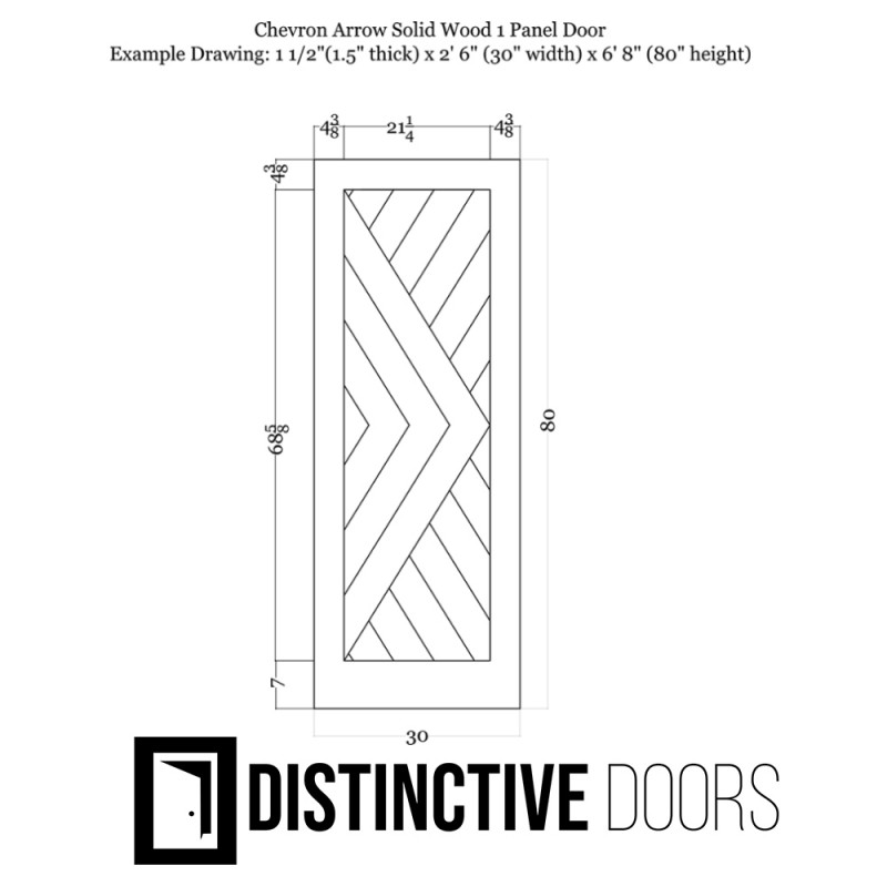 Chevron Arrow Wood 1 Panel Barn Door (Paint Grade Wood Designer Series Sliding Barn Doors) by www.doubledw.com
