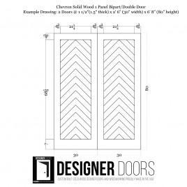 Chevron Wood 1 Panel Double Barn Door