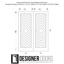Diamond Wood 1 Panel Double Barn Door