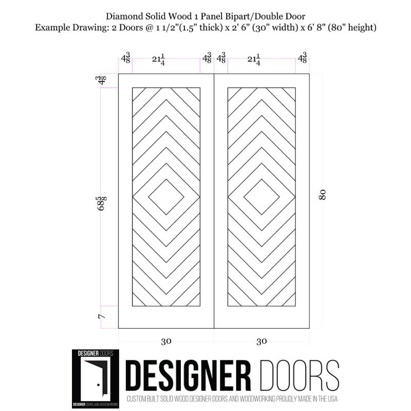 Diamond Wood 1 Panel Double Barn Door (Double Barn Doors) by www.doubledw.com