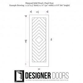 Diamond Wood 1 Panel Barn Door