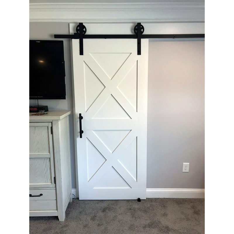 Double X Brace Wood 2 Panel Barn Door (Paint Grade Wood Designer Series Sliding Barn Doors) by www.doubledw.com