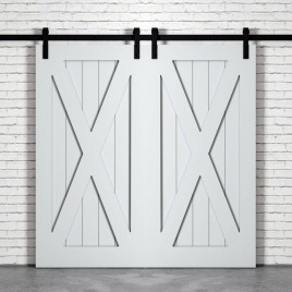 X Brace Wood 1 Panel Double Barn Door