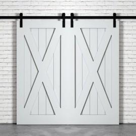 X Brace Wood 1 Panel Double Barn Door