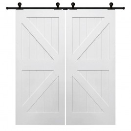 British Brace K Design Wood 2 Panel Double Barn Door