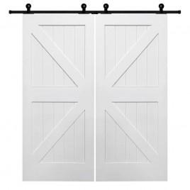 British Brace K Design Wood 2 Panel Double Barn Door