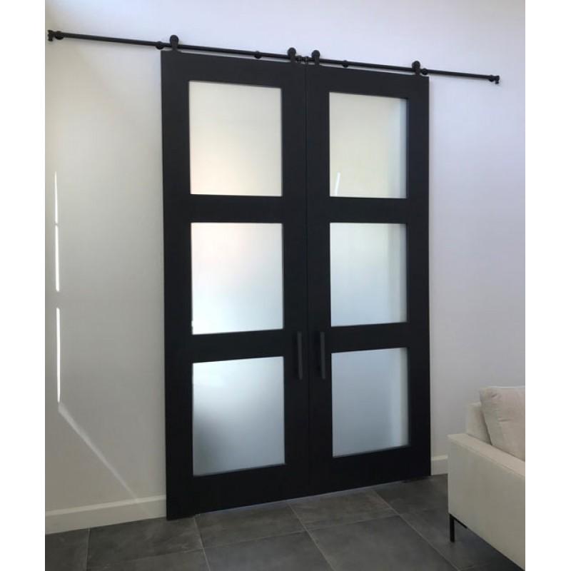 Glass 3 Panel Double Barn Door (Glass Designer Series Sliding Double Barn Doors) by www.doubledw.com