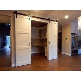 Wood 3 Panel Shaker Double Barn Door