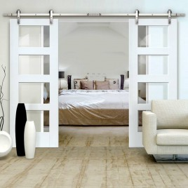 Glass Designer Series Sliding Double Barn Doors