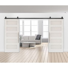 Wood 5 Panel Shaker Double Barn Door