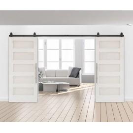 Wood 5 Panel Shaker Double Barn Door