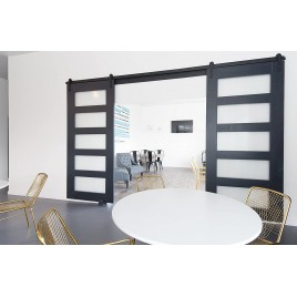 Glass 5 Panel Double Barn Door