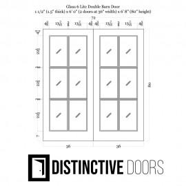 Glass 6 Panel Double Barn Door