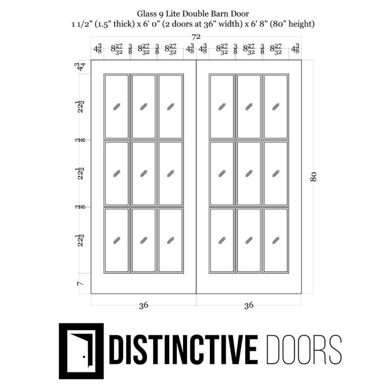 Glass 9 Panel Double Barn Door (Glass Designer Series Sliding Double Barn Doors) by www.doubledw.com