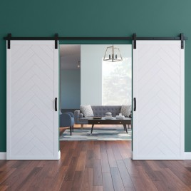 Herringbone Wood 1 Panel Double Barn Door