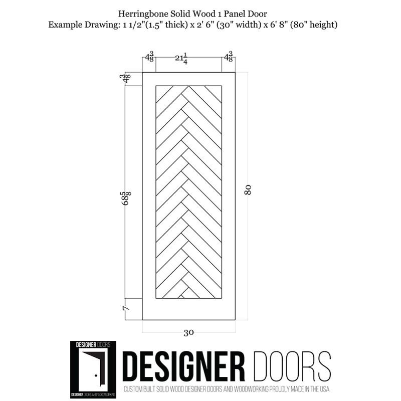 Herringbone Wood 1 Panel Barn Door (Paint Grade Wood Designer Series Sliding Barn Doors) by www.doubledw.com