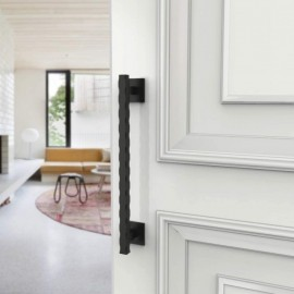 Hammered Edge Black Barn Door Flat Pull Handle