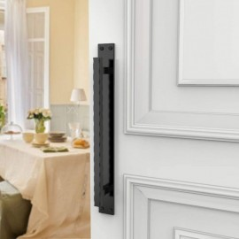 Hammered Edge Black Barn Door Flat Pull Handle with Backing Plate