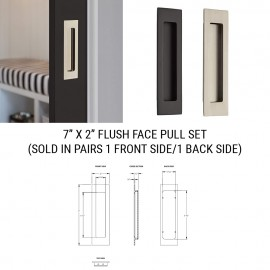 7 inch by 2 inch Recessed Flush Pull Set