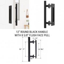 12 inch Round Black Handle with 8 5/8 inch Flush Pull