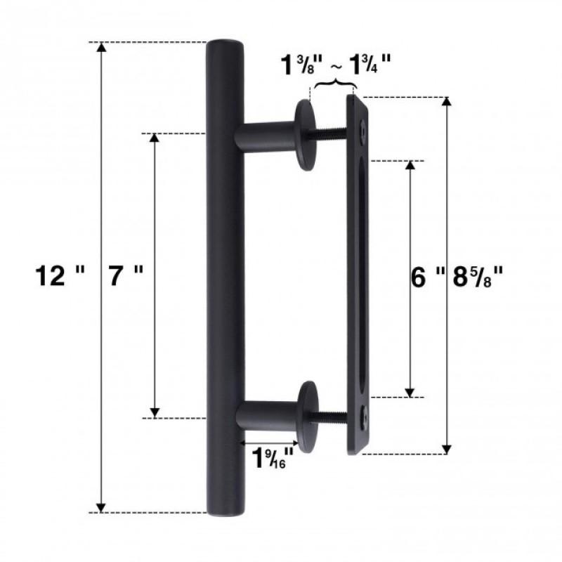 Black Barn Door Pull and Flush Round Door Handle Set (Barn Door Hardware) by www.doubledw.com