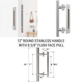 12 inch Round Stainless Handle with  8 5/8 inch Flush Pull