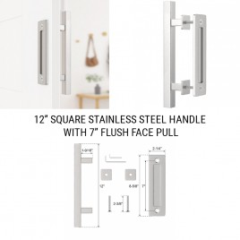12 inch Square Stainless Handle with 7 inch Flush Pull