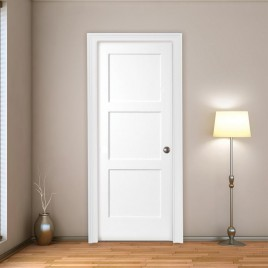 Wood 3 Panel Interior Paint Grade Door