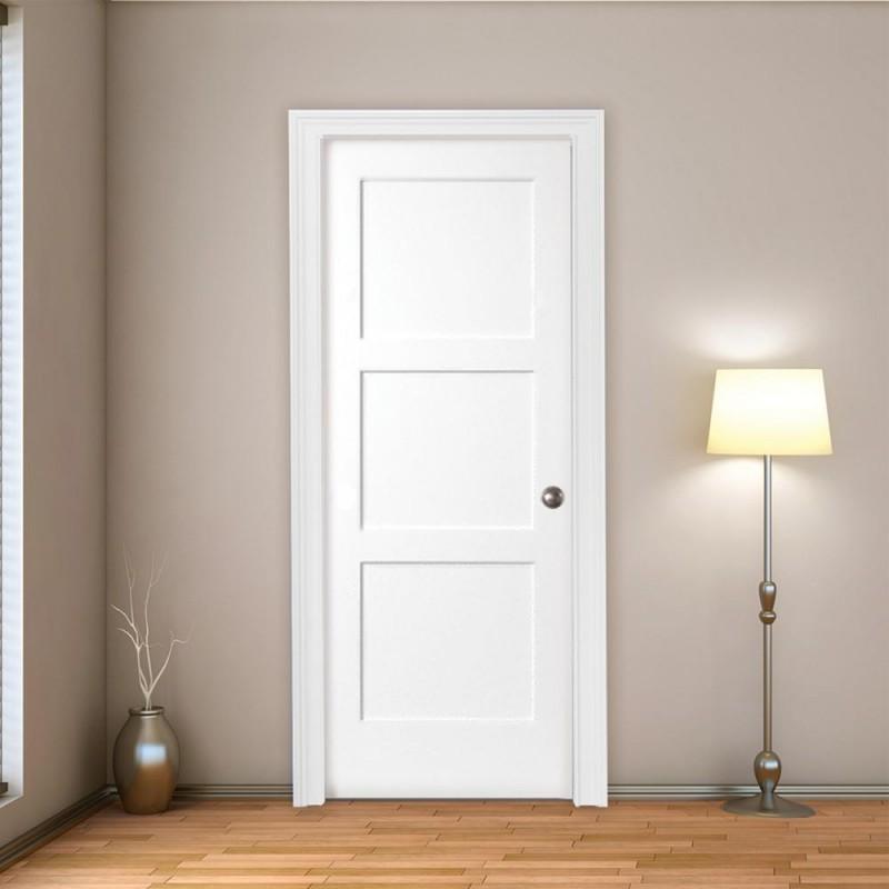 Wood 3 Panel Interior Paint Grade Door (Wood Designer Series Interior Doors) by www.doubledw.com