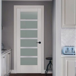 Glass 6 Panel Interior Paint Grade Door